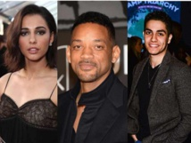 De izquierda a derecha, Naomi Scott, Will Smith y Mena Massoud