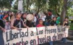Manifestación pidiendo la libertad de los presos mapuches en huelga de hambre