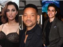De izquierda a derecha, Naomi Scott, Will Smith y Mena Massoud