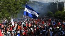 Manifestantes protestando contra el fraude electoral en Honduras