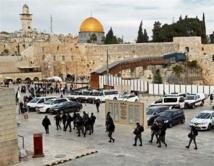 Policías israelíes cerca de la mezquita de Al Aqsa en Jerusalén