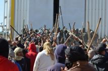 Manifestantes y policías en Túnez