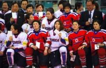 Jugadoras de hockey sobre hielo de las dos Coreas