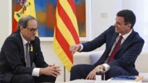 Quim Torra-a la izquierda-y Pedro Sánchez