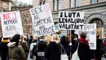 Manifestantes en Suecia contra la nueva ley