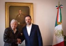 López Obrador-a la izquierda-y el gobernador de Zacatecas, Alejandro Tello Cristerna