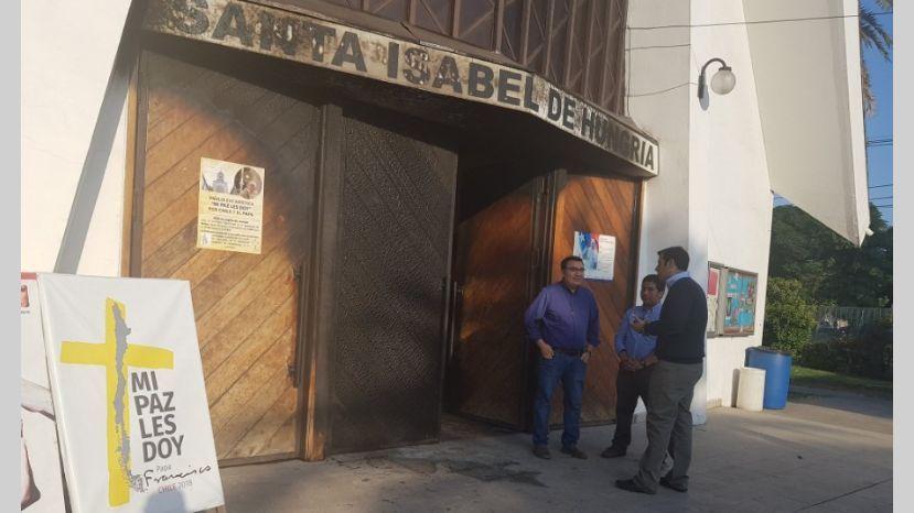Una de las iglesias atacadas en Santiago de Chile