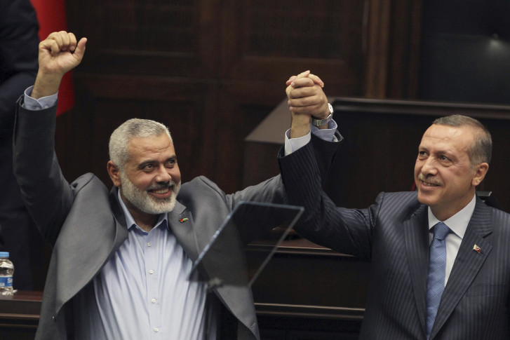 Haniya y Erdogan en el parlamento turco en el 2012.