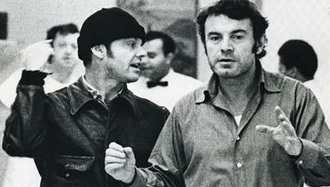 """MIlos Forman-a la derecha-y Jack Nicholson durante el rodaje de """"Alguien voló sobre el nido del cuco"""""""