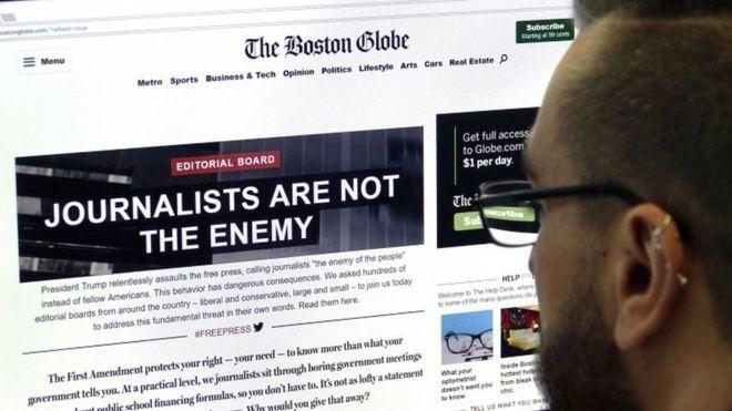 """El titular """"los periodistas no son el enemigo"""" en el Boston Globe"""
