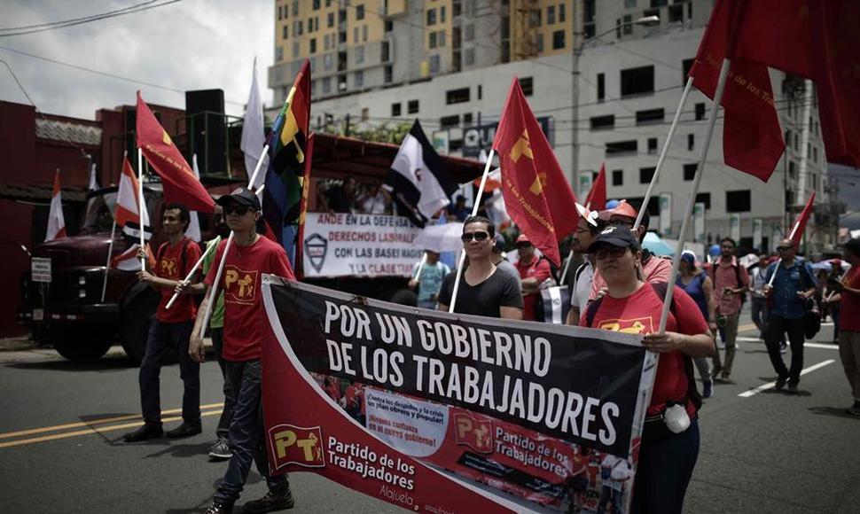 Manifestantes en Costa Rica