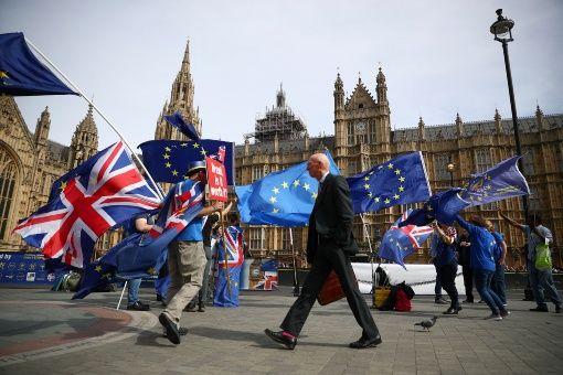 Manifestantes británicos a favor de pertenecer a la Unión Europea