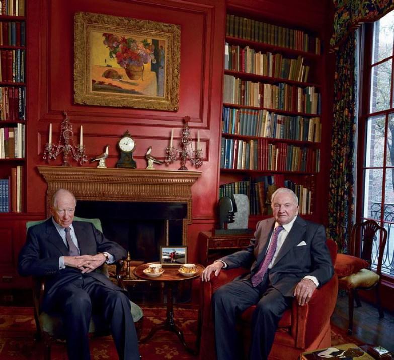 Lord Jacob Rothschild, a la izquierda, y David Rockefeller