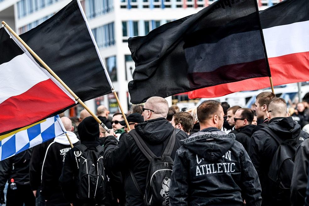 Manifestantes en Chemnitz, Alemania.